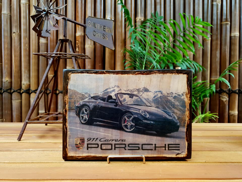 Porsche 911 997 handmade wood mounted car print