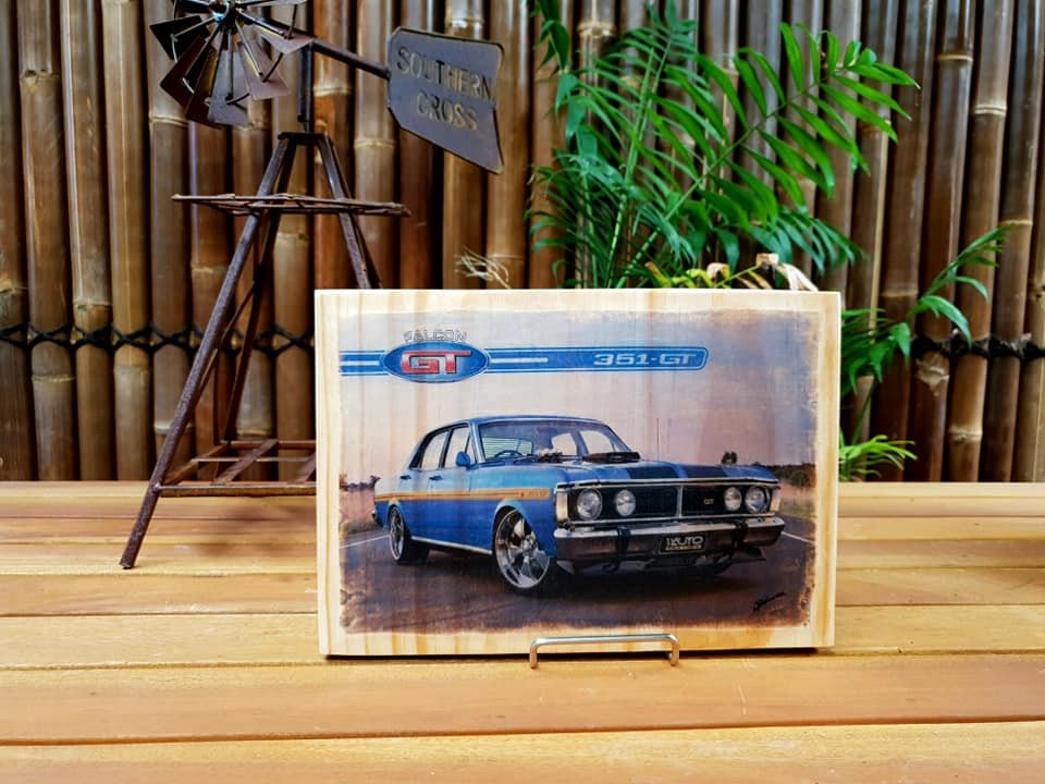 XY Flacon 351 GT handmade wood mounted car print