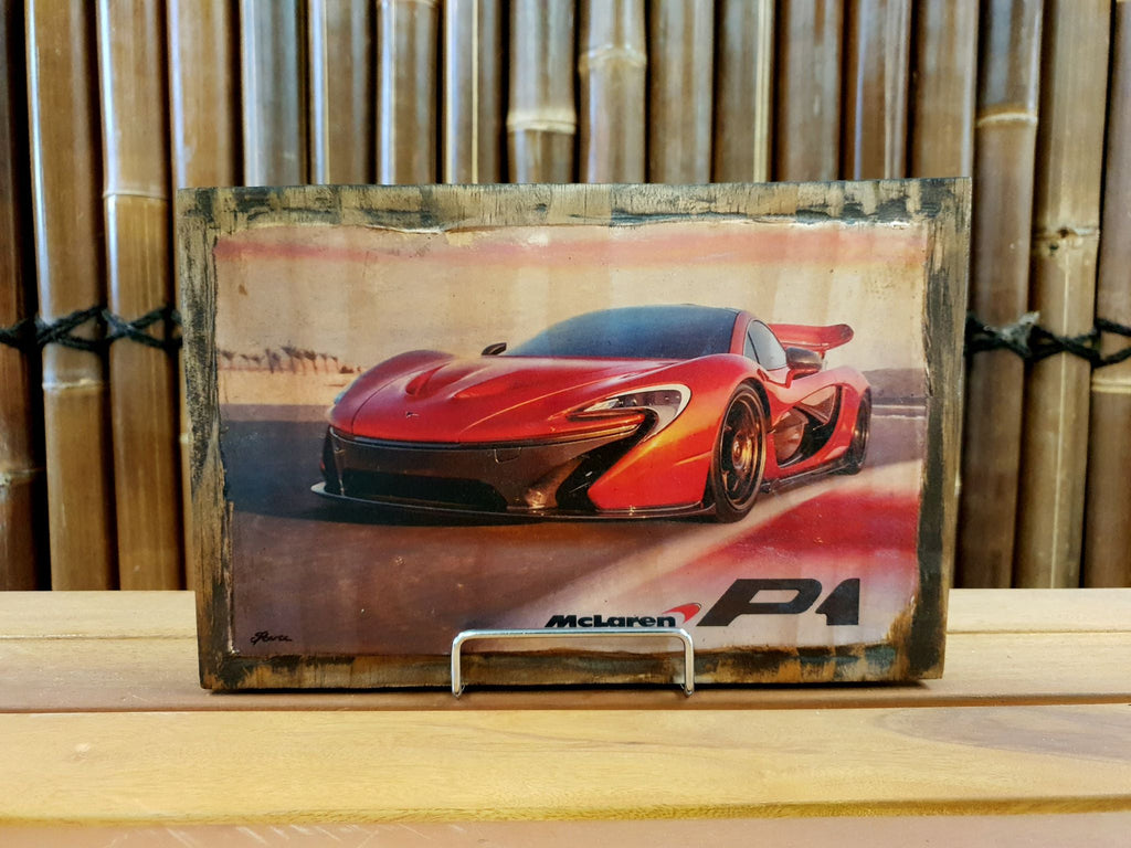 McLaren P1 GTR handmade wood mounted car print