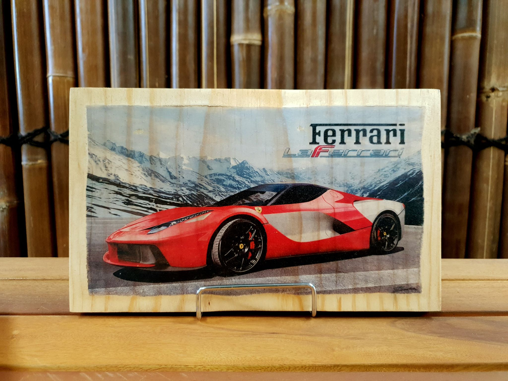 Ferrari La Ferrari handmade wood mounted car print