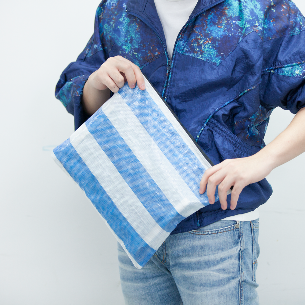 White-blue document bag (Handmade)