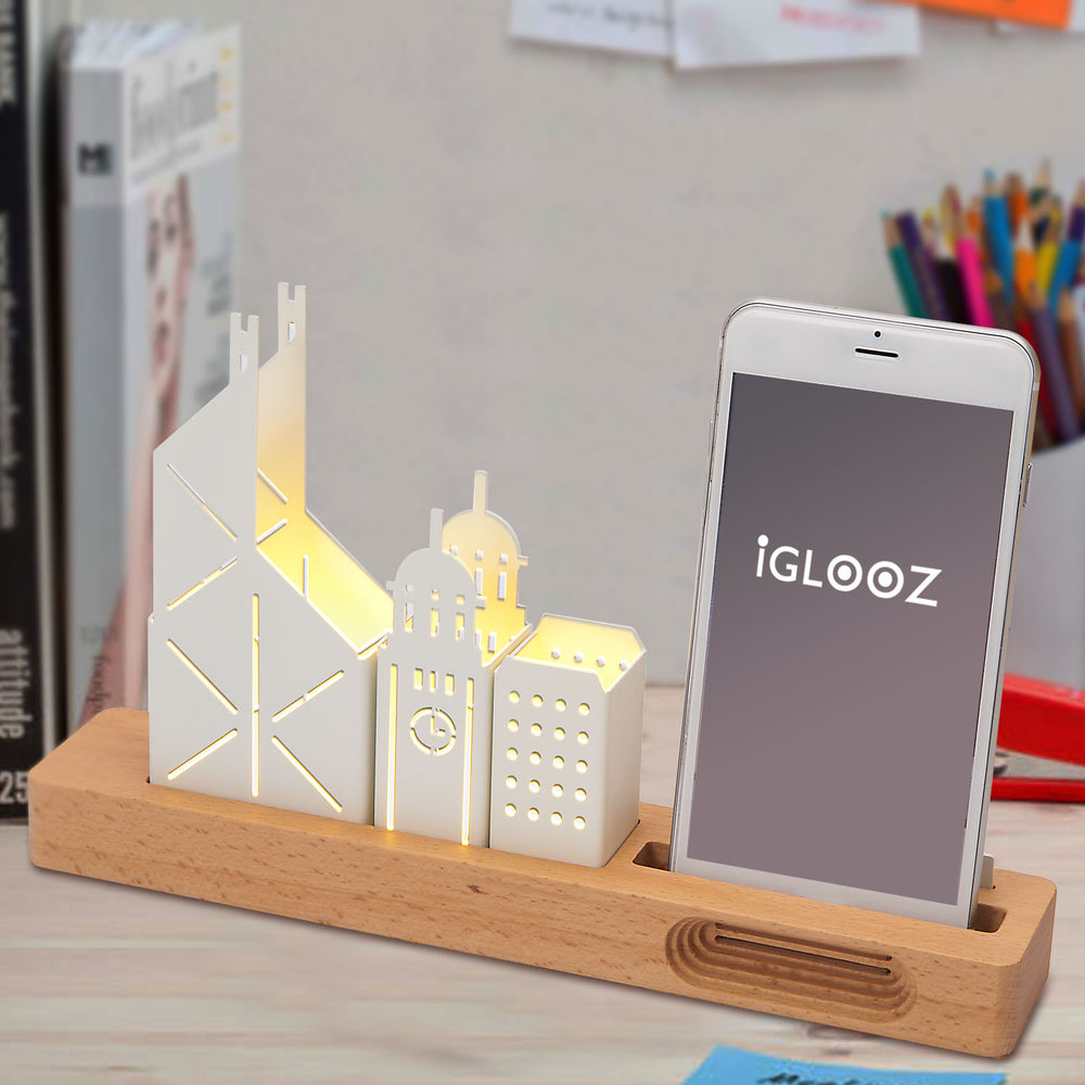 Desktop lighting and cell phone stand - HK skyline