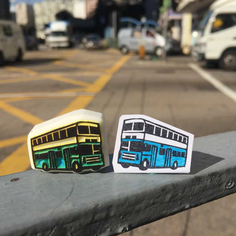 Rubber stamp - HK bus (Handmade)