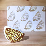 Rubber stamp with postcard - Waffle (Handmade)