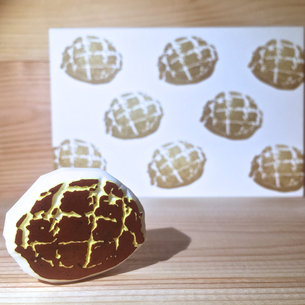 Rubber stamp with postcard - HK pineapple bun (Handmade)
