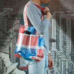 Red-white-blue shopping bag - Two pockets (Hand-made)