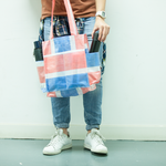 Red-white-blue shopping bag - Four pockets (Hand-made)