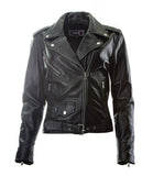 Brando Biker Sheep nappa Leather Jacket (Perfecto) in women's fit.113L- Na