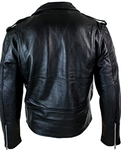 Classic Brando biker Jacket milled cowhide Leather. (Regular) 113R