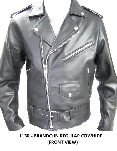 Classic Brando biker Jacket milled cowhide. (Regular) 113R