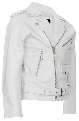 Classic Brando Biker White Cowhide Leather Jacket 113