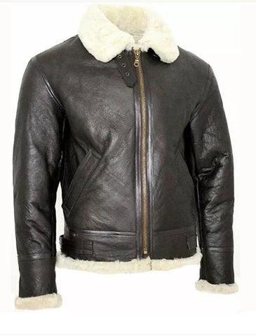 Men's Classic Real Sheepskin Pilot flying Bomber Aviator B3 Shearling Leather Jakets