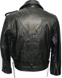 Cow Hide Side Lace Biker Leather Jacket Eagle Embossed Bronx 118-E