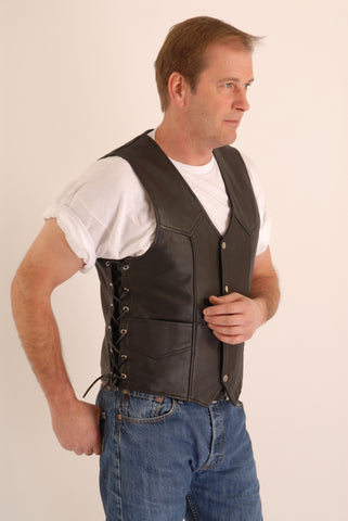 Natural (waxy) Cowhide Leather Biker Waistcoat with Side Lace - Fresco 202