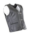 Cow Split Hide Leather Biker Studded Buckle Wascoat 224-SL