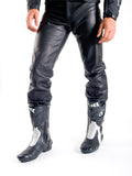 Plain Leather jean in cowhide leather Biker Fashion Style (Martin) 301