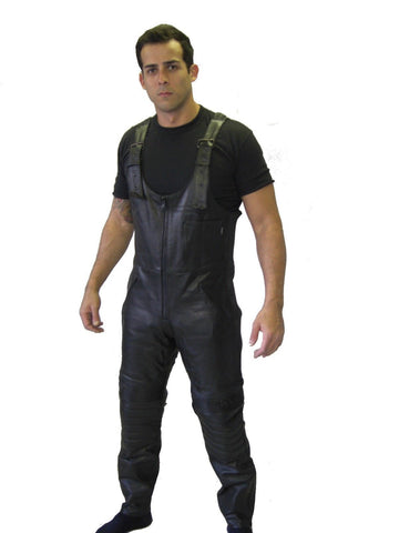 MOTORCYCLE WAXY COWHIDE ANALINE LEATHER BIB AND BRACE DUNGAREE GALAXY (SALOPETTES) 308