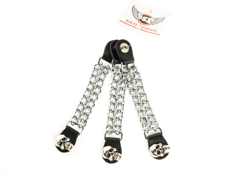 CHOPPER VEST EXTENDER LINK CHAIN WITH SKULL PRESS STUD AC8182K
