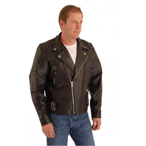 Highway Classic leather padded patrol jacket for rockers and bikers 106