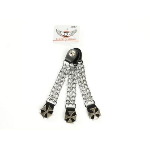 CHOPPER VEST EXTENDER LINK CHAIN WITH IRON CROSS PRESS STUD AC8182T