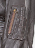 Pilot Bumber Commander Flying Leather jacket with removable fur collar 1125