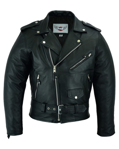 Classic Brando biker jacket in natural waxy cowhide. 113