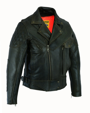 CUSTOM BIKER JACKET BLACK& BROWN ANTIQ 1168