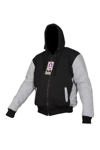 BLACK/GREY ARMOURED MOTORBIKE JACKET HOODIE