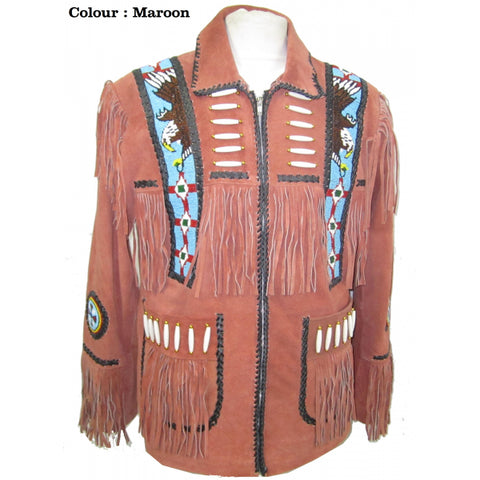 Western Cow Boy Leather Suede Fringe - Huron Jacket 140
