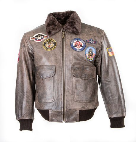 B2 : Men's Top Gun Pilot Bomber Fling Aviation Leather Jacket 157