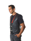 COWHIDE LEATHER WAISTCOAT CONCHO WITH RED FLAM 206
