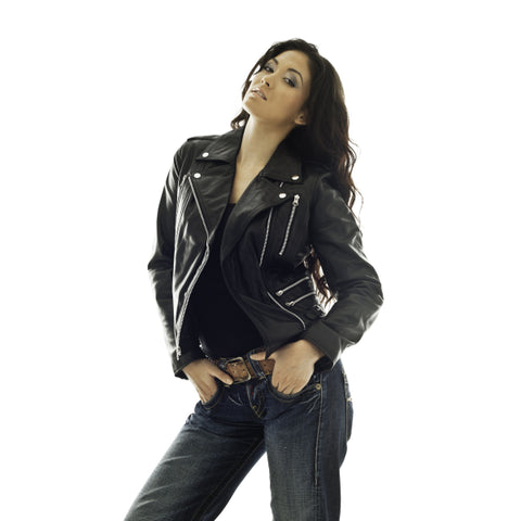 Ladies Retro Black 100% Nappa Leather Biker Jacket Pami S083