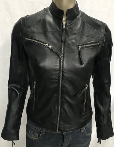 Ladies Real Leather Black  Fitted Bikers Vintage Style Jacket Gilda S087