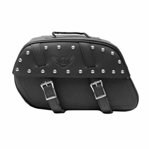 Black Synthetic Leather  Saddle Bag  Pannier Luggage Transit AC456-SL