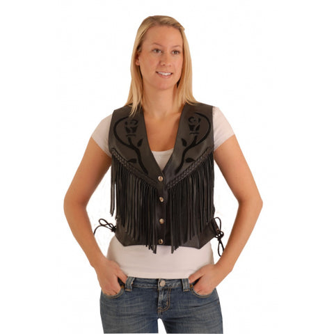 Rose fringe vest front view