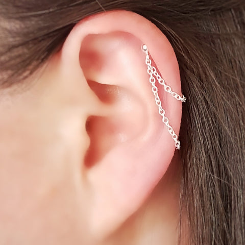 Sterling silver helix cartilage earring