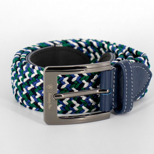 Jimmy Ro Fashion Webbed Belt - Contrast Blue / White / Green - SA GOLF ONLINE