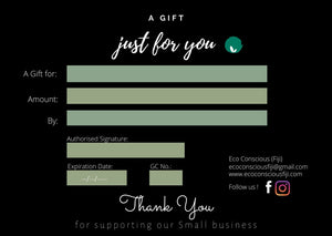E-Gift Card Eco Conscious Fiji - Buy someone an eco-friendly gift card and let them decide what they want.
