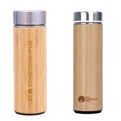Bamboo Reusable Stainless Steel Thermos Water Bottles (Custom Logo) 100 pcs