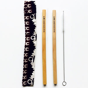 Bamboo Straw Kit (two straws, cleaner & pouch)