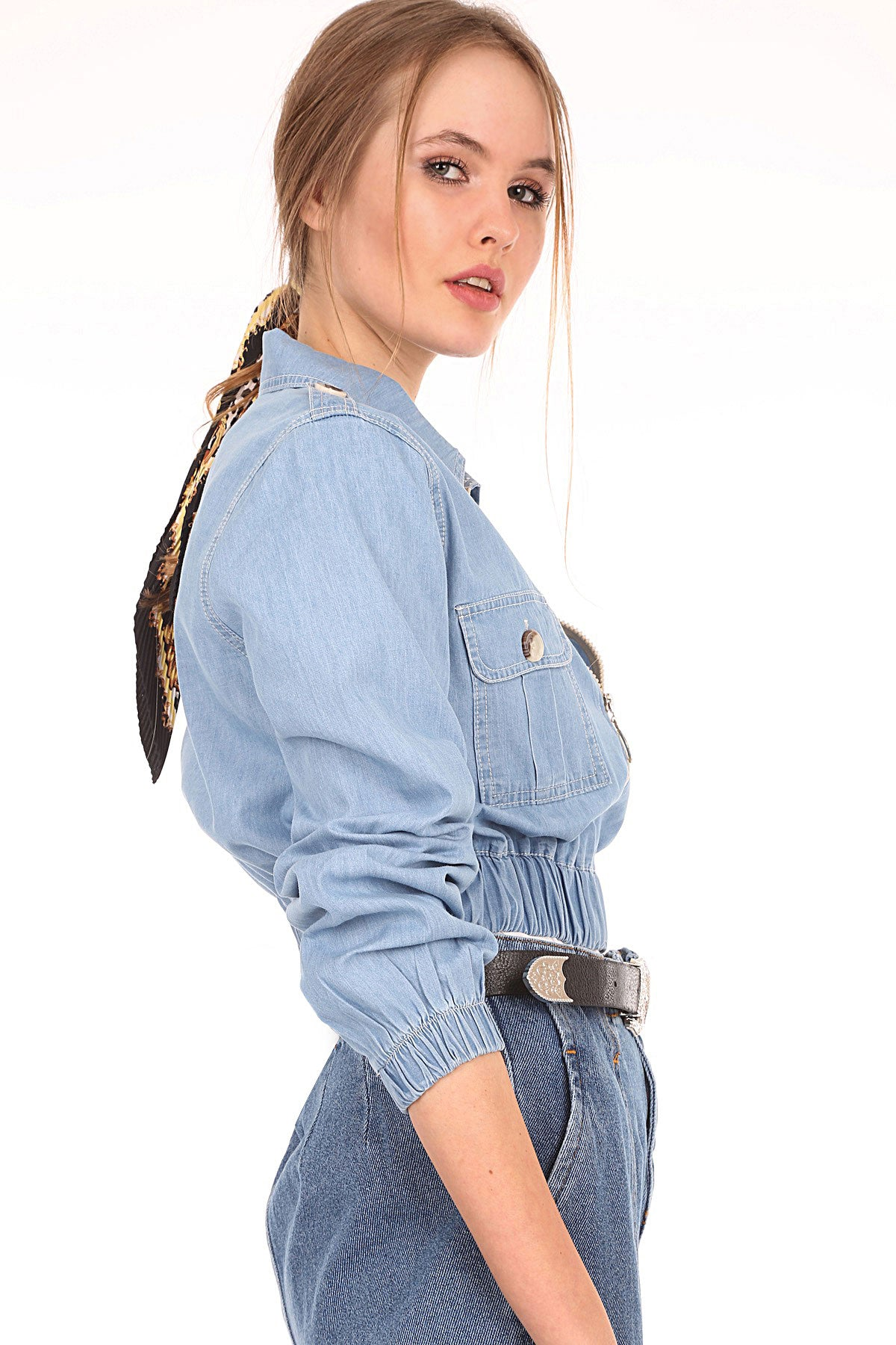Women's Elastic Waist Blue Denim Crop Jacket