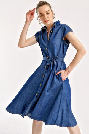 Women's Belted Button Denim Dress