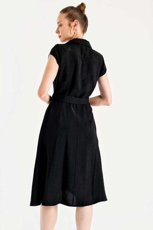Women's Belted Black Short Flare Dress