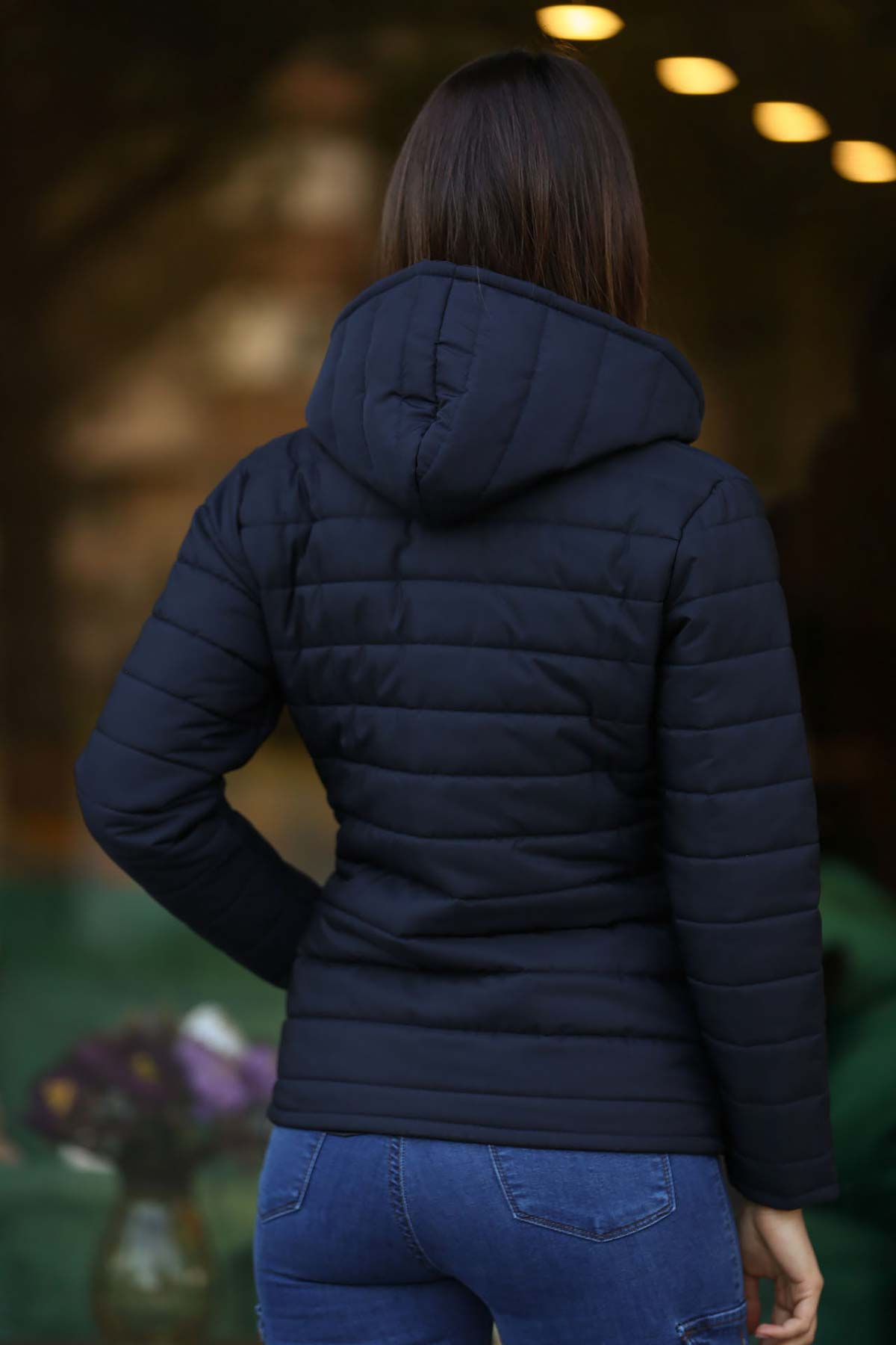 Women's Hooded Navy Blue Blown Coat