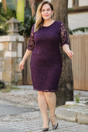 Oversize Lace Embroidered Purple Dress