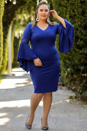 Big Size Buttoned Blue Dress