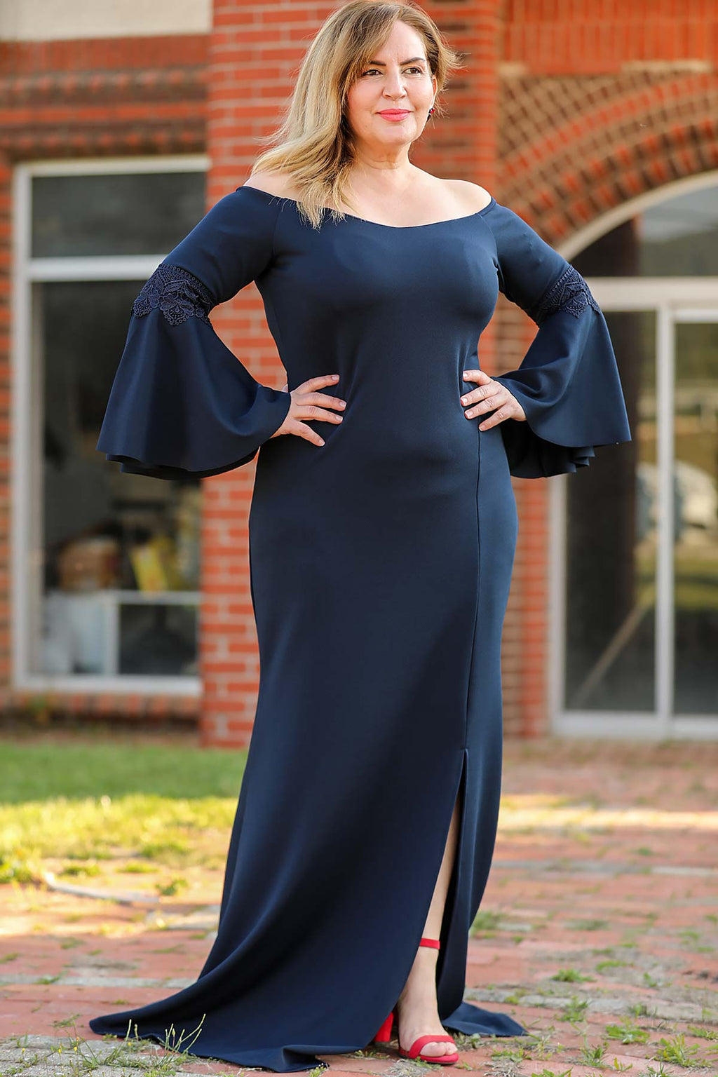 Oversize Ruffled Sleeves Navy Blue Evening Dress