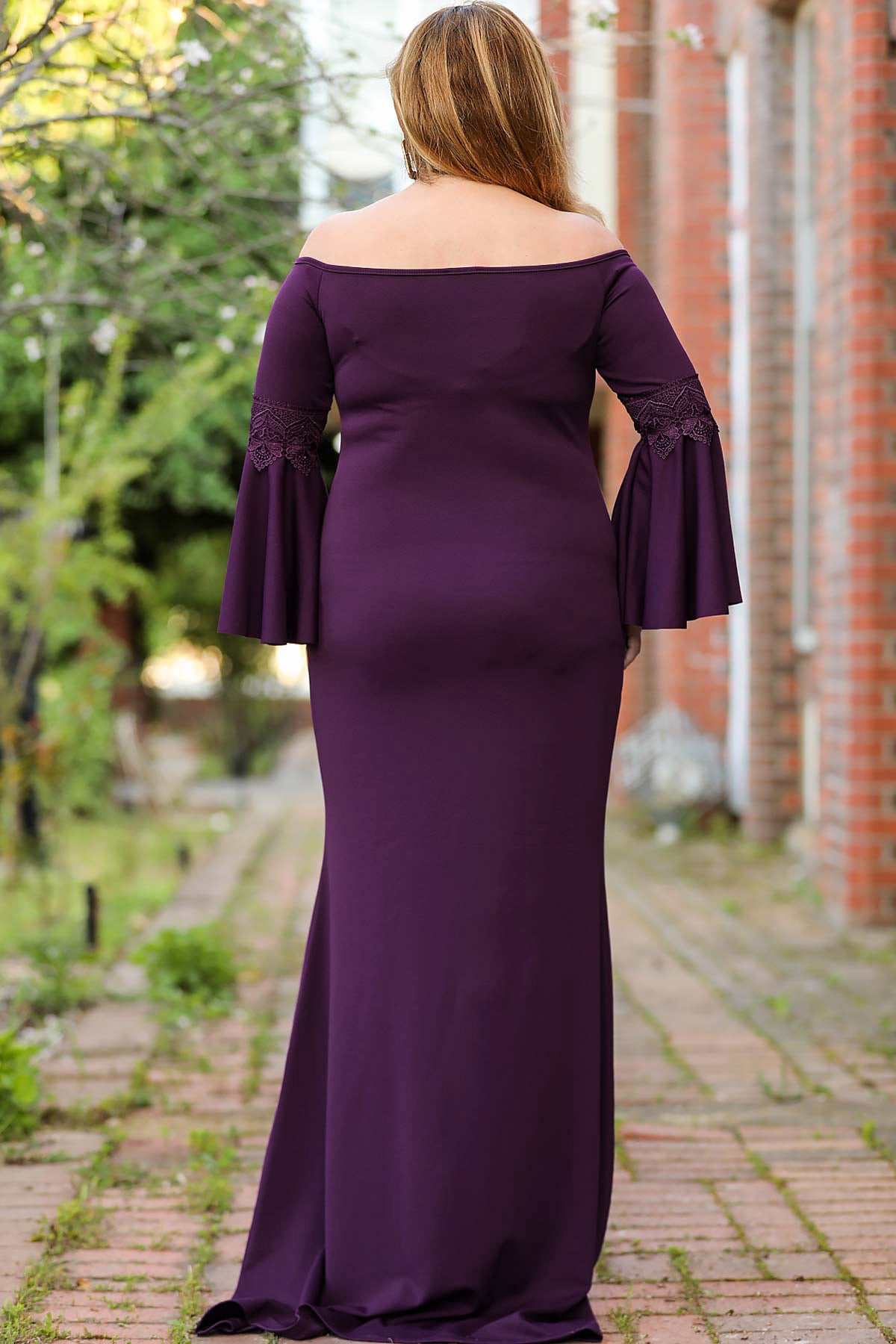 Oversize Ruffled Sleeves Purple Evening Dress