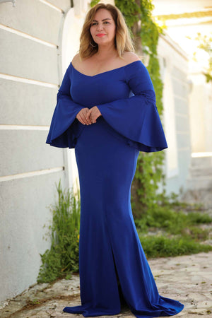 Oversize Ruffled Sleeves Blue Evening Gown