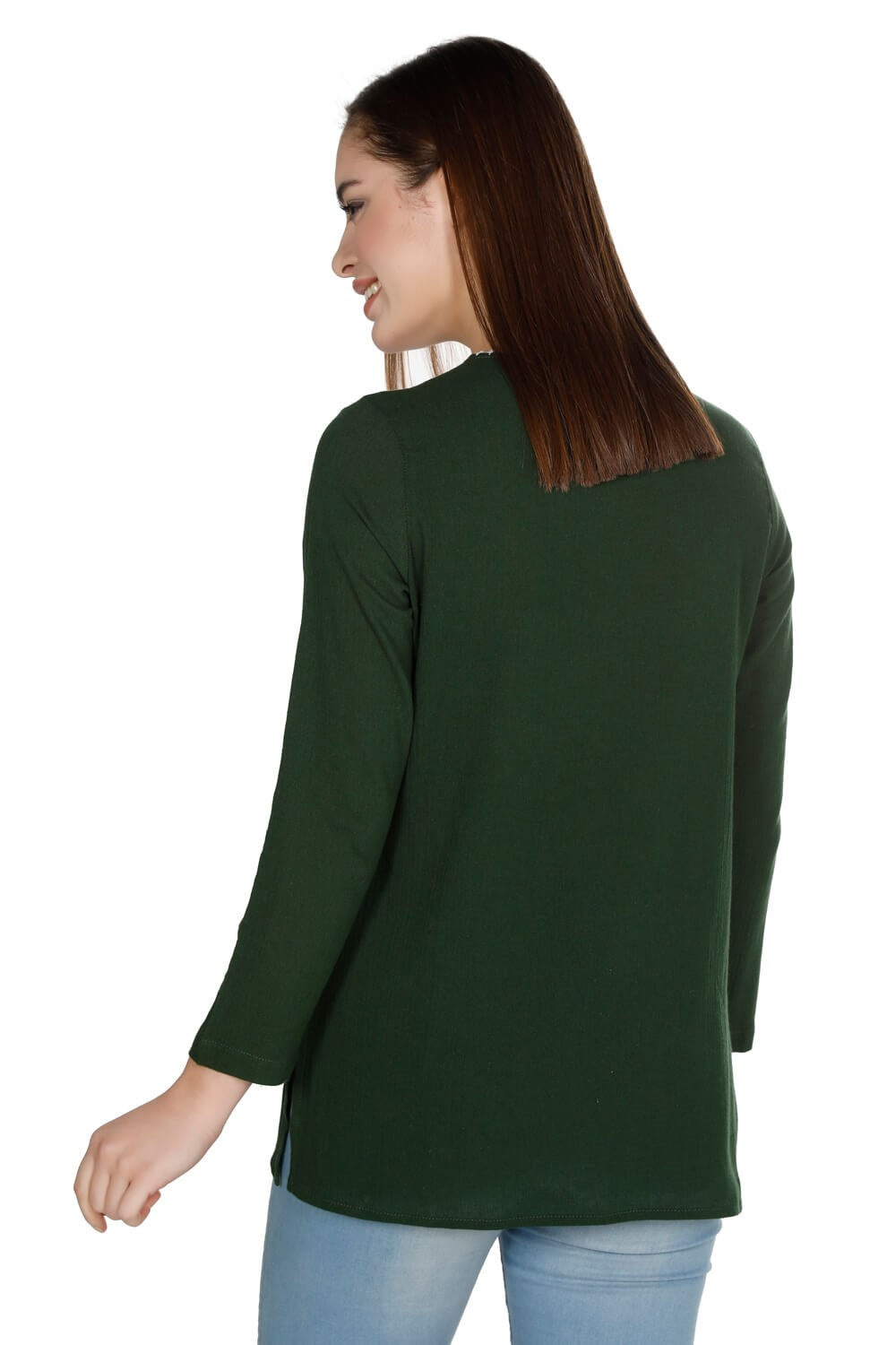 Women's Oversize Long Sleeves Embroidered Green Blouse